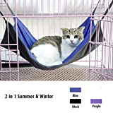 2 in 1 Summer&Winter Reversible Pet Cat Cage Hammock Rabbit Kitten Hanging Bed Cat Crib Cradle Radiator Comforter Basket Cushion Mat - Waterproof Oxford Fabric - Flannel - Support Weight up to 15kg