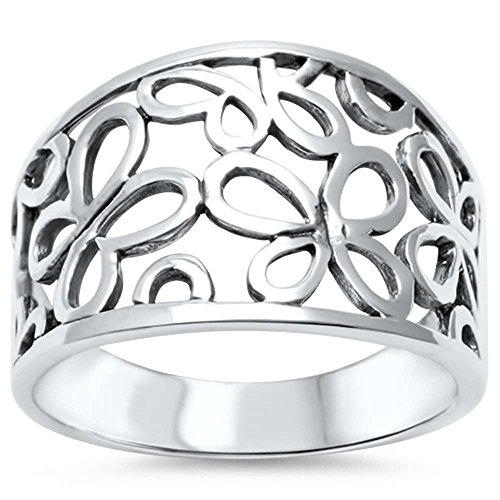 Oxford Diamond Co Sterling Silver Cute Butterfly Cut Out Filigree Band Ring Sizes 8 ()