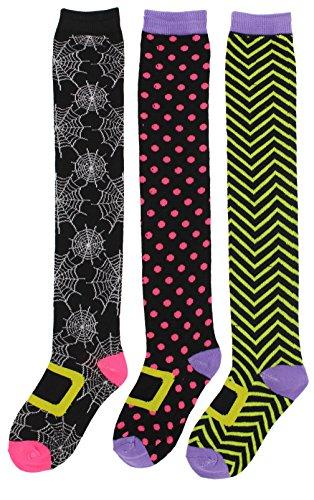 Hocus Pocus Women's Halloween Witchy Knee High Socks (3Pr) (Black, Pink, Lime) (Hocus Pocus Costume Shop)