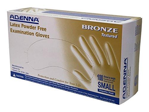 Adenna Bronze 5 mil Latex Powder Free Exam Gloves (White, Small) Box of 100