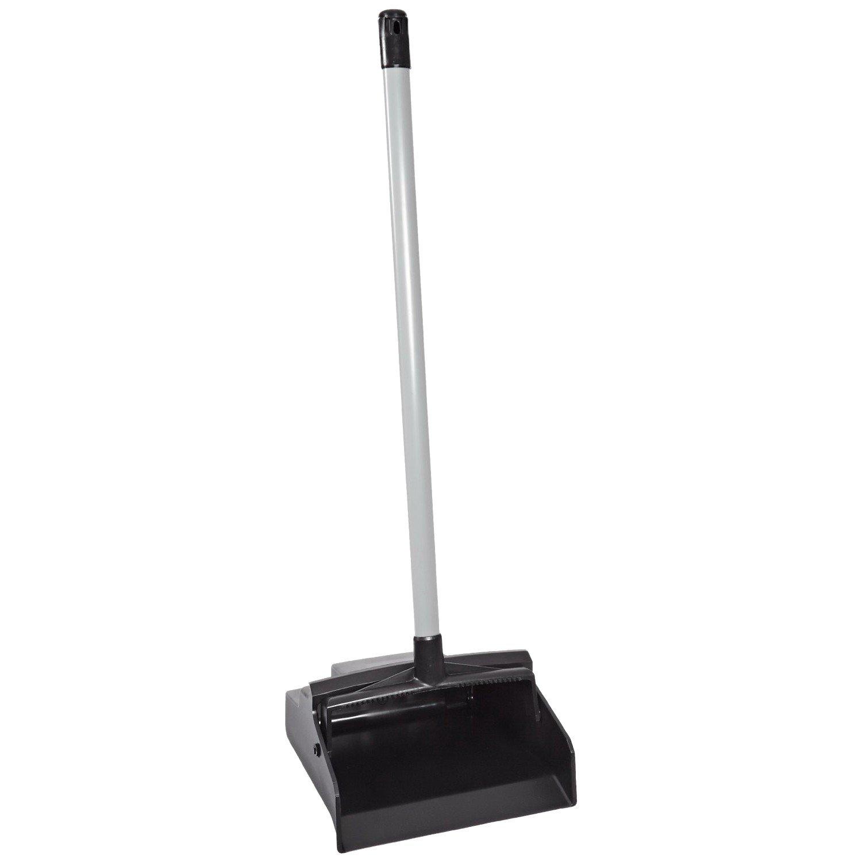 LobbyMaster Plastic Lobby Dustpan, 12'' Wide, 37'' High, Black Pan/White Handle