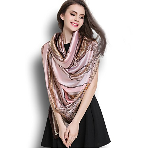 K-ELewon Silk Scarf Fashion Scarves Long Lightweight Sunscreen Shawls for Women SK063(Pink)