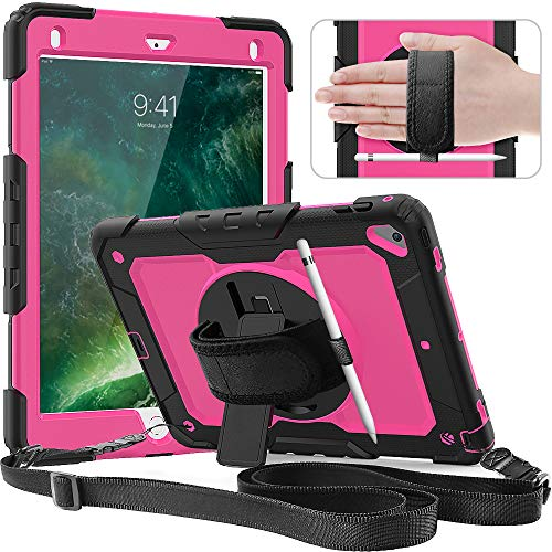 iPad 6th/5th Generation Case,Timecity iPad Air 2 Cases Drop Protection Rugged Case with 360 Rotating Stand Hand Strap &[Stylus Pencil Holder] for iPad 5th/6th 2018/2017, Air 2 and Pro 9.7 (Rose+Black)