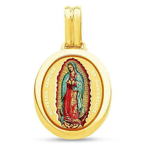 Jewel Tie Solid 14K Yellow Gold Milgrain Religious Our Lady Of Guadalupe Virgin Mary Enamel Pendant Charm 22x19 mm