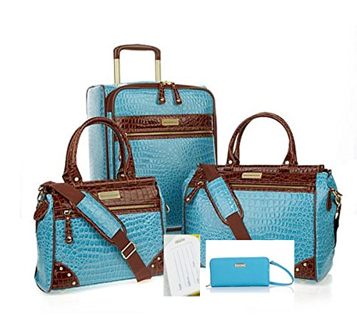Samantha Brown Classic Weekender Luggage Set 21'' Upright, Dowel Bag Plus~Aqua by Samantha Brown