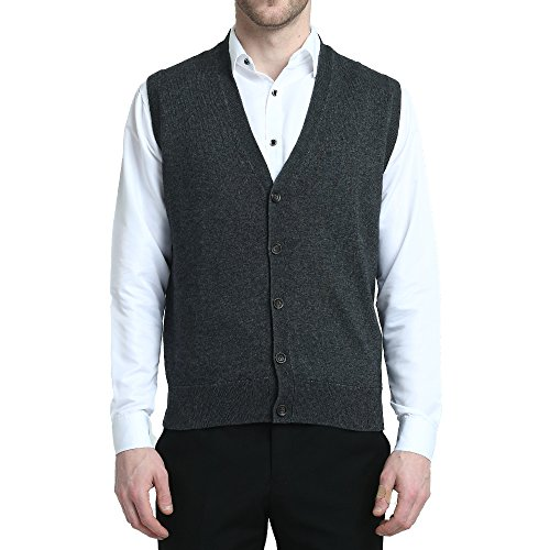 - Kallspin Relaxed Fit Mens V-Neck Vest Sweater Cashmere Wool Blend Front Button (Charcoal, XL)