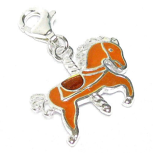 Sterling Silver Rocking Horse Dangle Chain Link Charm Pendant For European Style Clip On Charm