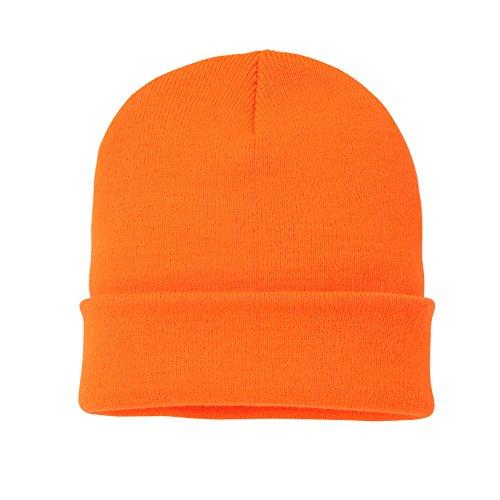 Outdoor Trading (TM) Soft-Knit Turn Up Beanie Hat - Slouchy Beanie Hat (Neon Orange)
