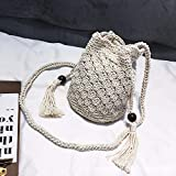 Y-YT Crossbody bag women Female character cylindrical belt shoulder grass braided bucket bag with oblique bag