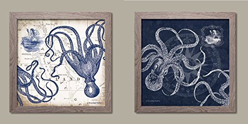 Mariner's Compass and Map Indigo and Grey Octopi Coastal Art; Two 12x12in Distressed Framed Prints; Ready to hang! (Art Framed Grey)