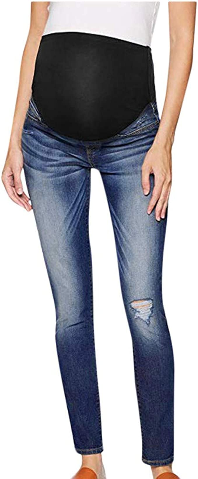 Pantaloncini di Jeans Strappati da Donna Incinta Tute Salopette di maternit/à Moda Salopette di Jeans Salopette