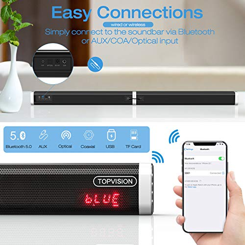 Sound bar, TOPVISION detachable Stereo Soundbar (60 Watt and 39-inch ) Subwoofer inside, Strong Bass Wired and Wireless Bluetooth 5.0 Audio Speakers for TV (2019 Updated Version)