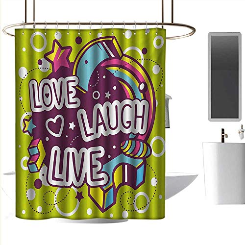 - Shower Curtains Purple Live Laugh Love,Cartoon Style Line Art Figures Stars Cubes Circles and Hearts Cheerful,Multicolor,W72 x L72,Shower Curtain for Shower stall