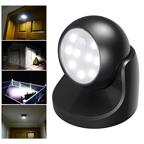 Besde Light Motion Activated Cordless Sensor LED Light Indoor Outdoor Garden Wall Patio Shed (A, Black)