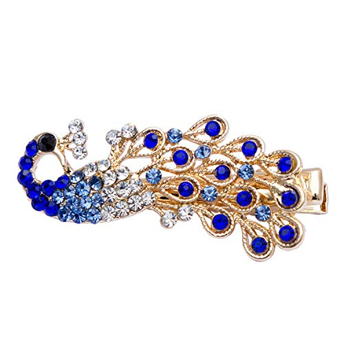4.52Cm 1Pcs Crystal Peacock Diamond Hairpins Barrette Rhinestones Side Bangs Clip Women Girls Hair Accessories Clips Blue