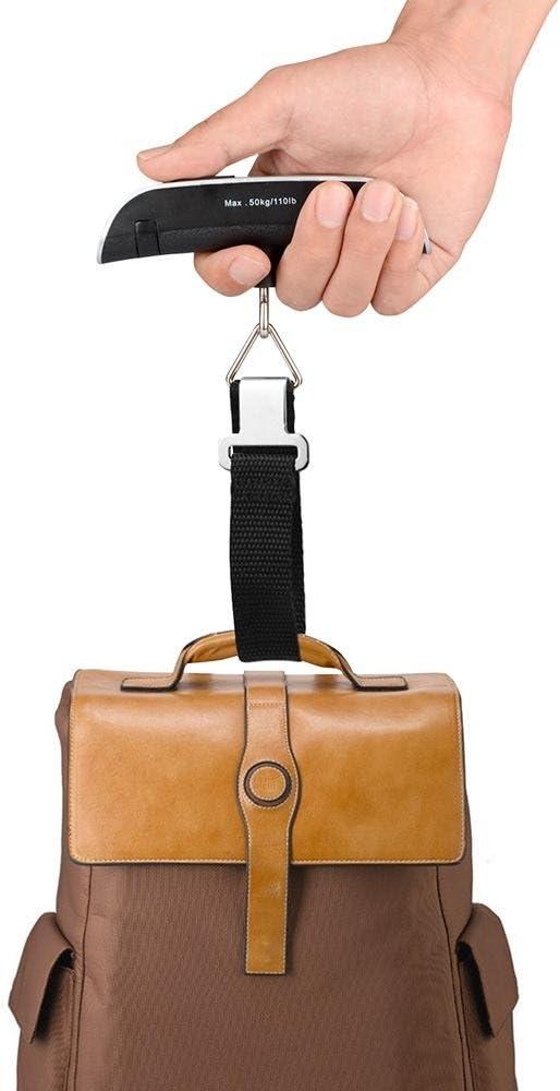 Argent et Noir TM P/èse Portable de Poche pour Bagage, Valise, Colis et Sacs - Maximum 50kg - Id/éal pour Voyage, Shopping et Usage Ext/érieur niceEshop