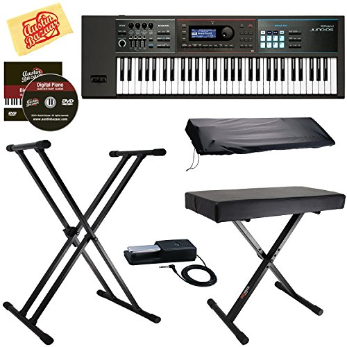 Roland JUNO-DS61 Synthesizer Bundle with Roland DP-10 Damper Pedal, Adjustable Stand, Bench, Dust Cover, Austin Bazaar Instructional DVD, and Polishing ()