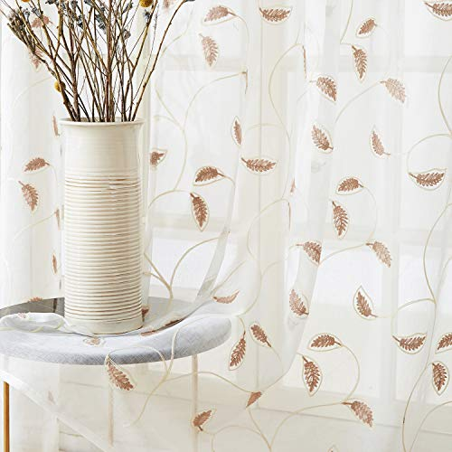 Top Finel White Sheer Curtains 84 Inches Long Brown Embroidered Leaves Grommet Window Curtains for Living Room Bedroom, 2 Panels