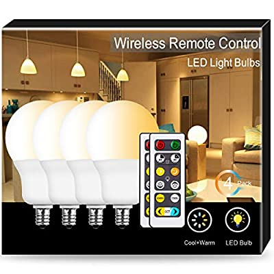 JandCase Tunable LED Bulb, A19 Dimmable Light Bulb, Warm&Cool White(2700K-6500K), 6W Candelabra Bulb with Remote, 60W Equivalent, 500lm, CCT Light for Home/Office Lighting, E12 Base, 4 Pack