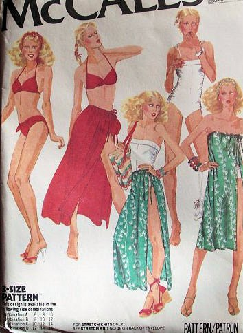 McCall's 6615 Bathing Suit, Bikini, Skirt or Cover-up and Bag Sewing Pattern for Stretch Knits Only Vintage 1960s ()