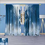SCOCICI1588 Flower Design Foil Printed Rod Pocket Thermal Insulated Window Panels A visit to a distant animal For Kidsroom, W52'' x L96'' Pair