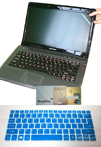 (2-in-1 US Layout Keyboard Skin Cover + 11.6'' Anti Glare Screen Protector for Acer Aspire V5-122 V5-122P V5-132 V5-132P V3-111P V3-112P E11 E3-111 E3-112 ES1-111M AO1-132 Series (Blue))