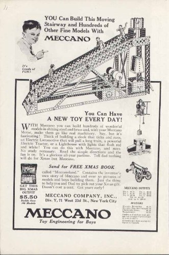 Stairway Set - Build this Moving Stairway with Meccano set ad 1920