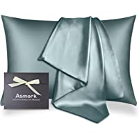 Asmork 100% Mulberry Silk Pillowcase for Hair and Skin, Both Side 19 Momme Real Silk, Hidden Zipper Washable Pure Silk…