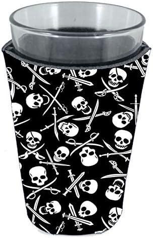 Pirate Pattern Neoprene Pint Glass Coolie Skull and Bones Jolly Roger