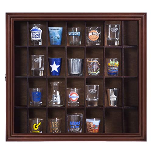 Gallery Solutions 18x16 Shot Glass Display Case with Hinged Front,Walnut ()