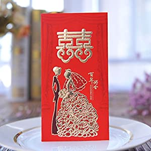 ISEAN Pack-30 Chinese Red Envelopes - Lucky Money Gift Envelopes Red Packet for New Year, Birthday, Wedding (6.5 x 3.4 in)