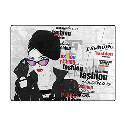 Doormat Front Door Mats Outdoor Inside Mats Personalized Welcome Mats with Sunglasses Fashionable Woman for Chair Mat and Decorative Floor Mat for Office and Home (63 x 48 in & - Hours Sunglass Hut