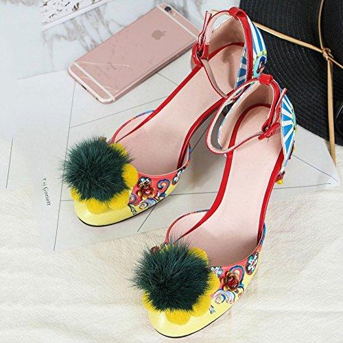 Vêtements de Chaussures pour Talons Talons Sandales Couleur Fashion Femmes Impressions Façonnés 3D Banquet Yellow à Quotidiens Graffiti Fête xRwwZ