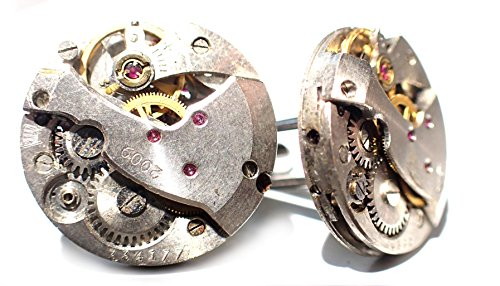 Steampunk Watch Movement Cufflinks Old Vintage Mechanical Watch Movement  With Gears Round Watch Movements 20mm Dia