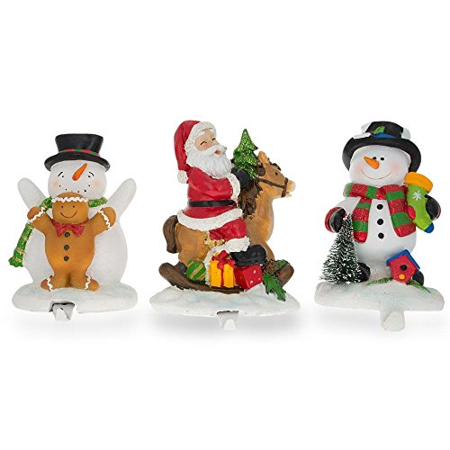 - BestPysanky Set of 3 Hand Painted Stocking Holders - Snowmen & Santa 6.5 Inches