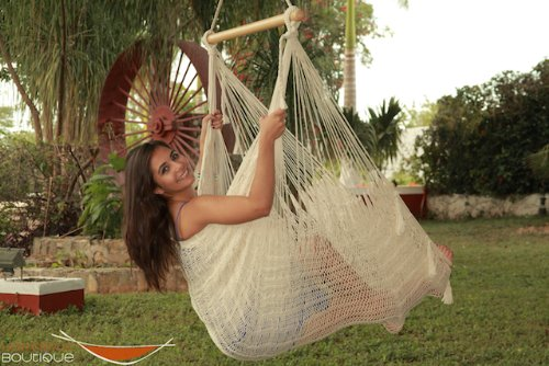 Large Mayan Hammock (Extra Large Mayan Chair Hammock XXL Thick Cord BEIGE in NYLON)