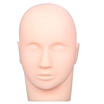 Esthetics Mannequin Head Pro Rubber Practice Training Head Cosmetology Mannequin Doll Face Head for Eyelashes Makeup Practice Makeup Practice Head,with Mount Hole