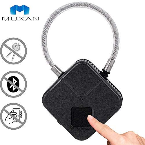 Fingerprint Padlock USB Rechargeable Smart Anti-Theft Thumbprint Padlock Waterproof Quick Unlock Keyless Biometric Lock for Luggage Suitcase Backpack Gym Bike (Black)