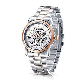 Time100 W60041G.03A moderno automático para hombre correa de acero inoxidable esqueleto reloj mecánico