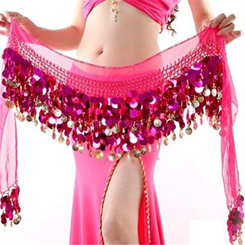 ZYZF Gold Coin Belly Dance Hip Scarf Skirt Wrap Dancing Costume Sequin (Belly Dancing Costume Hip Scarf)