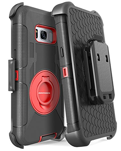 Galaxy S8 Plus Case, Samsung Galaxy S8 Plus Case, BENTOBEN Shockproof Heavy Duty Kickstand Belt Clip Hybrid Full Body Rugged Holster Protective Case for Samsung Galaxy S8 Plus (6.2 inch), Black/Red