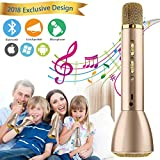 Wireless Bluetooth Karaoke Microphone for Kids, Portable Karaoke Player Machine with Speaker for Home Party KTV Music Singing Playing, Support iPhone Android IOS Smartphone PC iPad(Gold)