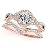 MauliJewels 0.50 Carat Halo Daimond Engagement Bridal Ring Set 14K Solid Rose Gold