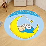 Gzhihine Custom round floor mat Baptism Decorations Baptism Design Happy Boy Christening Striped Dotted Background Christian Religion Theme Bedroom Living Room Dorm Decor
