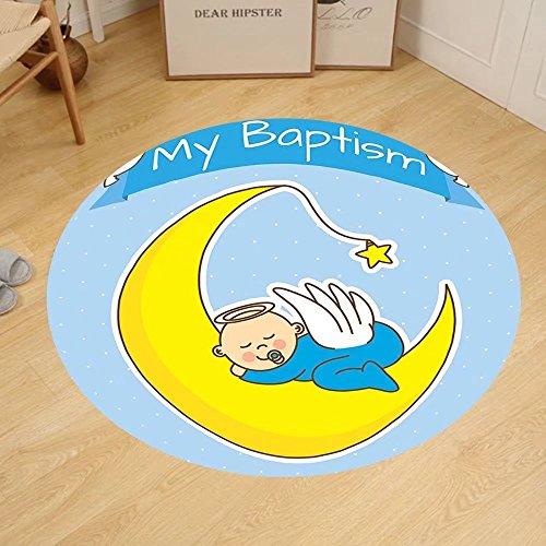 Gzhihine Custom round floor mat Baptism Decorations Baptism Design Happy Boy Christening Striped Dotted Background Christian Religion Theme Bedroom Living Room Dorm Decor by Gzhihine