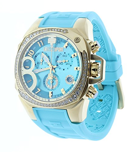 Technosport Radiance Chrono Crystal Accent Bezel Turquoise Rubber Strap Women's Watch TS-103-11