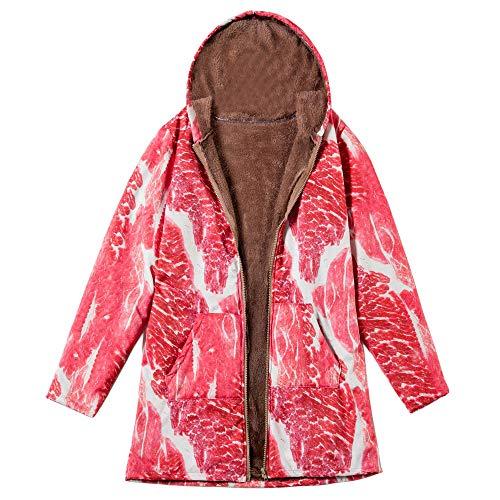 (XOWRTE Women's Vintage Oversize Coat Pork Print Hooded Pockets Warm Winter Jacket Outwear)