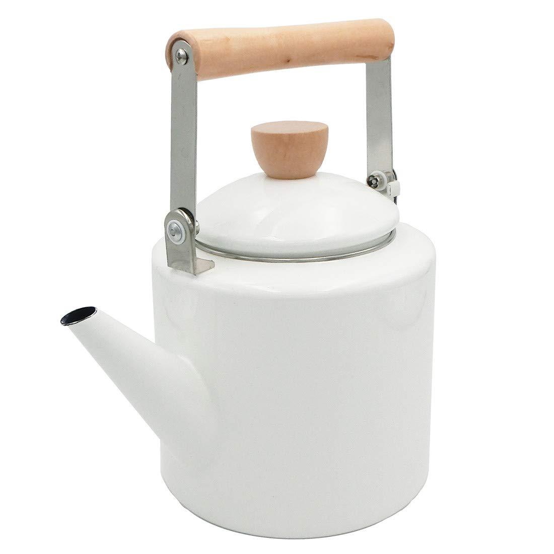 Keypro Enamel on Steel Tea Kettle, 1.7-Quart Maximum Safe Capacity, Cylindrical Shape with Wood Handle, Vintage Style White