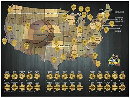 Junkies Sports Maps Scratch-Off Basketball Map, Stadium map, Bucket List, Man cave ()