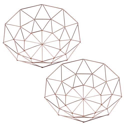 AceList Set of 2 Metal Fruit Basket Countertops Storage Bowl Vegetable Basket Display Stand - Rose Gold